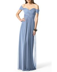 Dessy Collection | Blue Ruched Chiffon Gown | Lyst