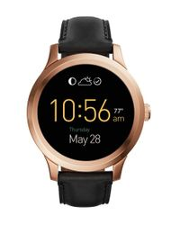 Fossil | Black ' Q - Founder' Round Leather Strap Smart Watch for Men | Lyst