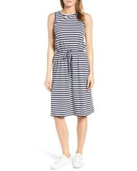 Caslon | Blue Caslon Sleeveless Cotton Blend Knit Drawstring Waist Dress | Lyst