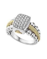 Lagos   Metallic Diamond Caviar Square Ring   Lyst