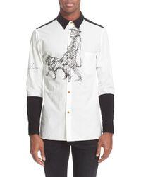 Yohji Yamamoto - White Colorblock Extra Trim Fit Shirt for Men - Lyst