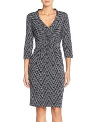 Donna Ricco | Black Print Jersey Sheath Dress | Lyst