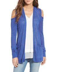 Trouvé   Blue Cold Shoulder Open Front Cardigan   Lyst