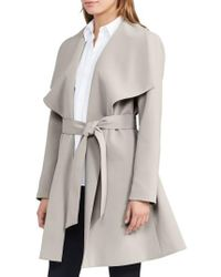 Lauren by Ralph Lauren | Multicolor Belted Drape Front Coat | Lyst