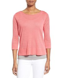 Eileen Fisher - Pink Organic Linen & Nylon Sheer Boxy Sweater - Lyst