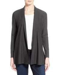Eileen Fisher | Black Jersey Knit Straight Cut Long Cardigan | Lyst