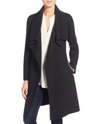 Mackage | Black Belted Stretch Wool Envelope Collar Long Coat | Lyst