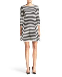 kate spade new york | Natural Stripe Fit & Flare Dress | Lyst