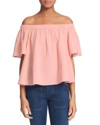 Rebecca Taylor - Pink Off The Shoulder Cotton Top - Lyst