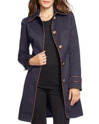 Lauren by Ralph Lauren | Blue Faux Leather Trim Trench Coat | Lyst