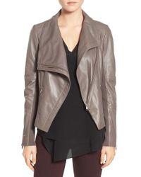 Trouvé | Gray Drape Front Leather Jacket | Lyst