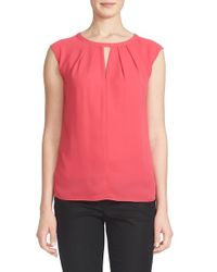 Cece by Cynthia Steffe - Red Pleat Keyhole Neck Blouse - Lyst