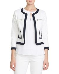 Cece by Cynthia Steffe - White Collarless Stretch-Piqué Jacket - Lyst