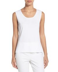Ming Wang - White Scoop Neck Knit Tank - Lyst