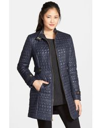 Via Spiga | Purple Faux Leather Trim Quilted Coat | Lyst