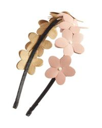 Cara | Pink Faux Leather Flower Headband | Lyst