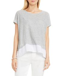 Two By Vince Camuto | Gray Chiffon High/low Hem Knit Tee | Lyst