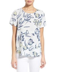 Pleione - Yellow Short Sleeve Tiered Top - Lyst