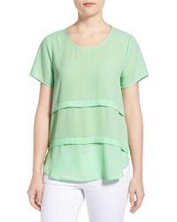 Pleione - Green Short Sleeve Tiered Top - Lyst