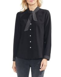 Vince Camuto - Black Contact Long-sleeve Top - Lyst