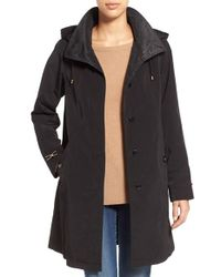 Gallery | Black Two-tone Silk Look A-line Raincoat | Lyst