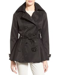 BCBGeneration - Black Short Double Breasted Skirted Trench Coat - Lyst