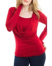 Nurture-Elle | Red Cowl Neck Long Sleeve Nursing Top | Lyst
