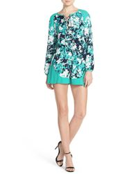 925264403b98 Lyst - Fraiche By J Floral Print Tie Neck Romper in Green