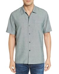 Tommy Bahama   Gray 'ocean' Standard Fit Oxford Silk Camp Shirt for Men   Lyst