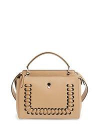 Fendi | Brown 'dotcom' Lace-up Leather Satchel | Lyst