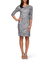 Alex Evenings | Metallic Rosette Lace Sheath Dress | Lyst
