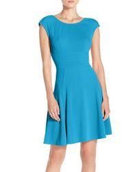 Julia Jordan   Blue Cap Sleeve Fit & Flare Dress   Lyst