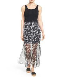 Vince Camuto | Multicolor Print Chiffon Overlay Maxi Dress | Lyst