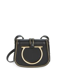 Ferragamo - Black 'Sabine' Nappa Leather Saddle Bag - Lyst