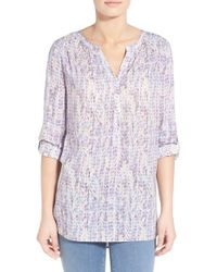 NYDJ - White Knot Trim Print Roll Sleeve Henley Tunic - Lyst