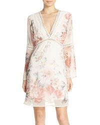 Fraiche By J - White Floral-Print Chiffon Dress - Lyst