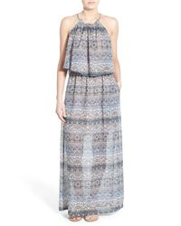 Mimi Chica - Gray High Neck Popover Maxi Dress - Lyst