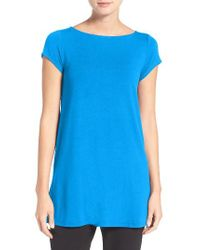 Eileen Fisher | Purple Bateau Neck Tunic Top | Lyst