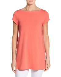 Eileen Fisher | Pink Bateau Neck Tunic Top | Lyst