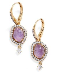 Nadri - Metallic Petals Pave Drop Earrings - Lyst