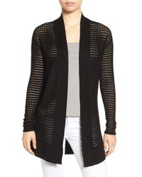 NIC+ZOE - Black 'summer Soiree' Open Stitch Cardigan - Lyst
