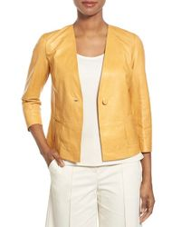 Lafayette 148 New York - Yellow Cassie Leather Jacket - Lyst