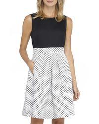 Tahari - Black Polka-Dot Cotton Dress - Lyst