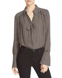 Free People | Black 'modern Muse' Tie Neck Long Sleeve Blouse | Lyst