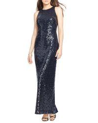 Lauren by Ralph Lauren - Black Midnught-Blue Sequin and Mesh Column Gown - Lyst
