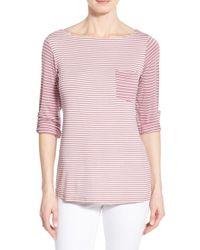 Bobeau - Pink Stripe Three Quarter Sleeve Pocket Tee - Lyst