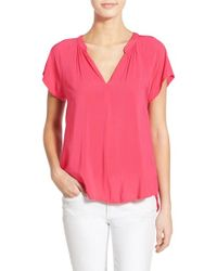 Velvet By Graham & Spencer - Pink Challis Split Neck Blouse - Lyst