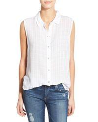 Velvet By Graham & Spencer - White Windowpane Sleeveless Button-down Shirt - Lyst