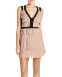 BCBGMAXAZRIA - Pink 'hartley' Tiered Woven Fit & Flare Dress - Lyst