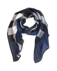 Burberry   Blue 'ultra Mega Check' Washed Mulberry Silk Scarf   Lyst